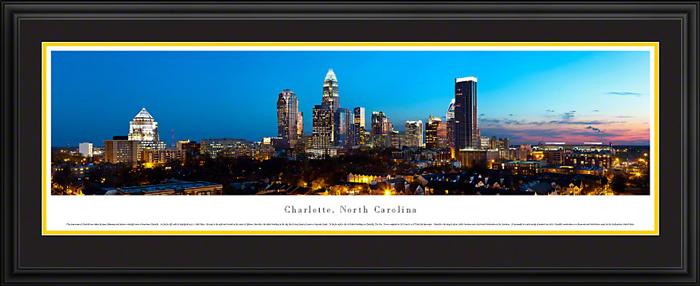 Charlotte North Carolina Deluxe Framed Skyline Picture