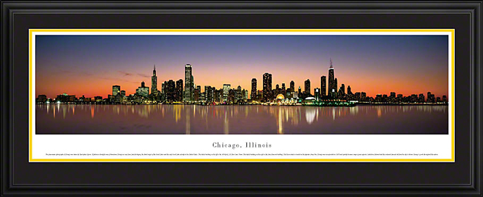 Chicago Illinois Deluxe Framed Skyline Picture 2