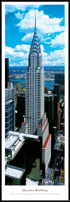 New York, New York Chrysler Building (Daytime) Framed Skyline Picture