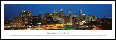Philadelphia, Pennsylvania Framed Skyline Picture 1