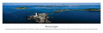 Boston Light, Massachusetts Panoramic Picture...LARGE SIZE! 13 1/2 inches x 40 inches!