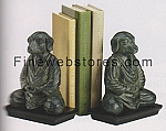 Rust/Black Dog In Buddha Position Bookends