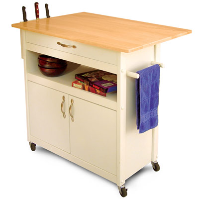 drop leaf utility butcher block kitchen island cart