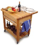 Grand Butcher Block Kitchen Island Cart with Drop Leaf