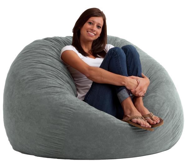 4 foot large fuf bean bag chair comfort suede steel grey