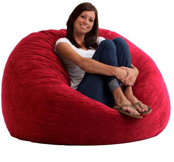 4 foot large fuf bean bag chair comfort suede sierra red