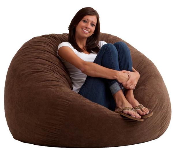 4 foot large fuf bean bag chair comfort suede espresso