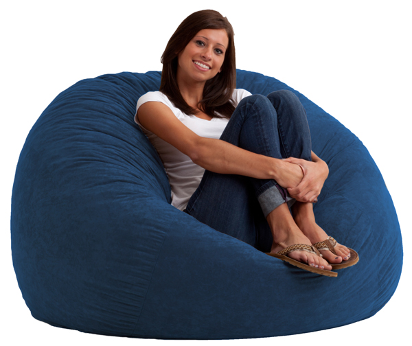 4 foot large fuf bean bag chair comfort suede blue sky