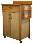 Cuisine Butcher Block Kitchen Island Cart with Flat Doors and Backsplash