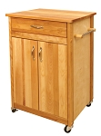 Cuisine Butcher Block Kitchen Cart with Flat Doors