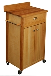 Cuisine Butcher Block Kitchen Island Cart with Back Splash