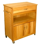 Wide Cuisine Butcher Block Kitchen Island Cart