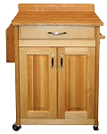 Deluxe Cuisine Butcher Block Kitchen Island Cart with Back Splash and Galley