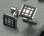Rodium Plated Cufflinks with Square Pattern T.P.