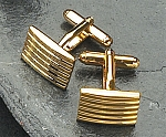 Gold Color Cufflinks with Stripe Bars T.P.