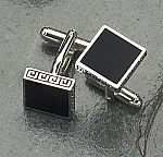 Rodium Plated Cufflinks with Navy Blue Enamel T.P.