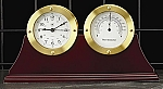 Dual Gold Tone Metal Desk Clock and Thermometer on Mahogany Base T.P.