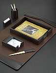 6 Piece Genuine Brown Leather Desk Set T.P.