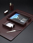 6 Piece Genuine Burgundy Leather Desk Set T.P.