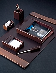6 Piece Genuine Dark Brown Leather Desk Set T.P.