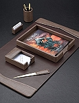 6 Piece Genuine Fossil Leather Desk Set T.P.