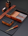 6 Piece Genuine Burl Wood Leather Desk Set T.P.