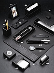 Genuine Black Croco Leather Desk Set