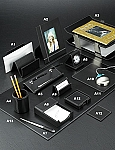 Genuine Black Leather White Stitch Desk Set