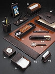 Genuine Brown Croco Leather Desk Set