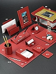 Genuine Red Leather White Stitch Desk Set