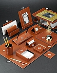 Genuine Saddle Brown Leather Desk Set