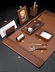 Genuine Tan Leather Desk Set 2