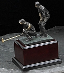 Large Double Golfers Bronzed Metal Sculpture on Wood Base T.P.