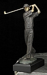 Large Man Golfer Bronzed Metal Sculpture on Marble Base T.P.