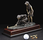 Mix Doubles at the Ninth Golfer Bronzed Metal Sculpture on Wood Base T.P.