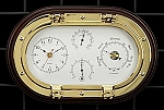 Horizontal Brass Tide and Time Wall Clock with Barometer and Thermometer T.P.