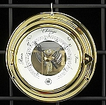 French Brass Porthole Barometer with Beveled Glass T.P.