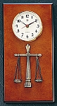 Legal Brass Wall Clock on Burlwood Base T.P.