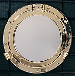 Large Solid Brass Porthole Mirror T.P.
