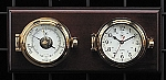 Brass Porthole German Barometer and Wall Clock on Teak Wood Base T.P.