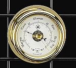 Small Brass Porthole German Barometer with Beveled Glass T.P.