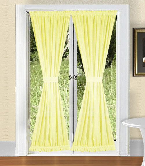 Light Yellow French Door Curtains