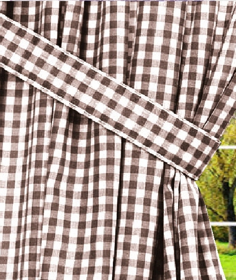 Brown Gingham Check Window Curtains