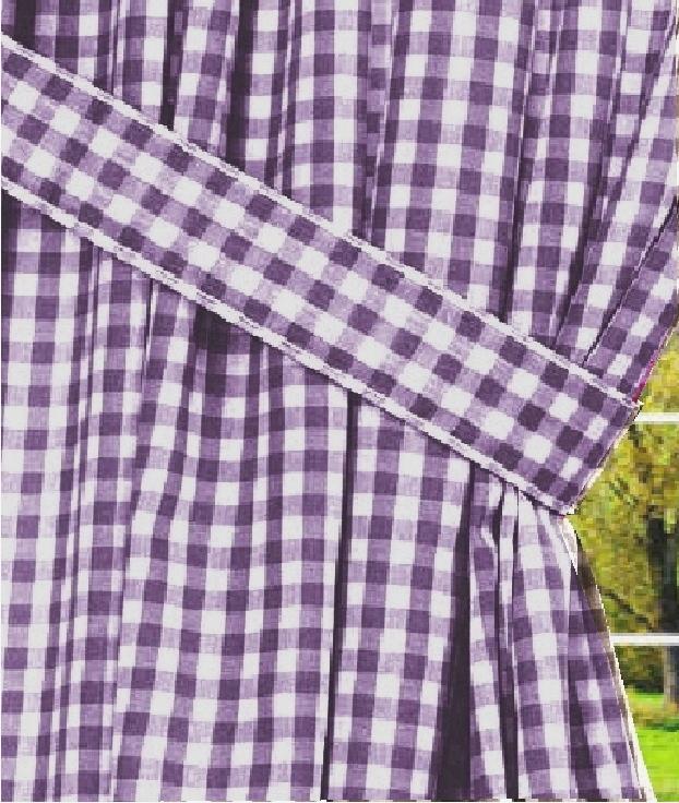 Dark Purple Gingham Check Window Curtains