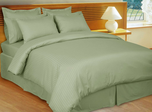 Sage Stripe 8 Piece 600 Thread Count Egyptian Cotton Bed