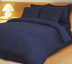 Navy Damask Stripe 600 Thread Count Egyptian Cotton Down Alternative Comforter Set