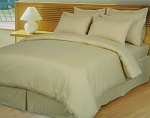 Beige/Tan Damask Stripe 600 Thread Count Egyptian Cotton Down Alternative Comforter Set