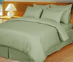 Sage Damask Stripe 600 Thread Count Egyptian Cotton Down Alternative Comforter Set