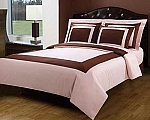 5 Piece Full/Queen Blush Pink And Chocolate 300 Thread Count Egyptian Cotton Duvet Cover Set