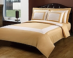 5 Piece Full/Queen Gold And Ivory 300 Thread Count Egyptian Cotton Duvet Cover Set